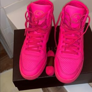 Gucci Coda Neon Leather High-Top Sneaker, Pink 38+